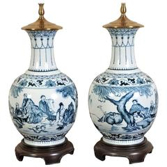 Pair of Chinese Ceramic Urn Form Lamps