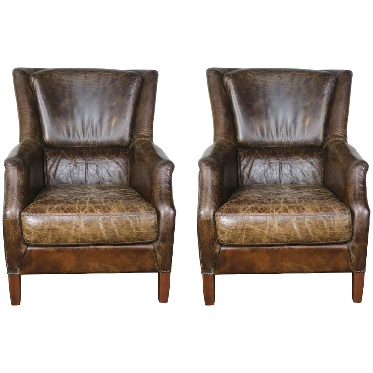 Pair of Tobacco Colored Leather Armchairs For Sale