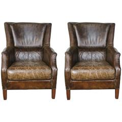 Pair of Tobacco Colored Leather Armchairs