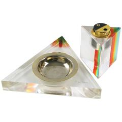 Mid-Century Modern Lucite Smoking Set Ashtray & Lighter by Pierre Cardin, 1970s