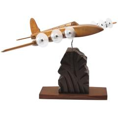 French Art Deco Wooden Airplane Aviation Model by Art Bois Studio