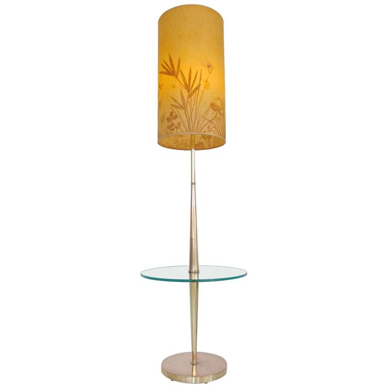 Vintage Tapered Brass Floor Lamp with Integrated Glass Table
