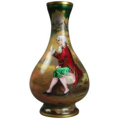 Antique French Enamel on Copper Portrait Cabinet Vase, Signed Vile, circa 1880