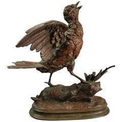 Antique French Bronze Song Bird Sculpture by E. Delabrierre, circa 1880