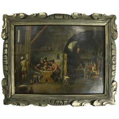 Antique Continental School Oil on Metal Old Master Painting, D. Steen