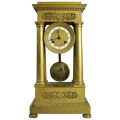 Antique French Empire Gilt Bronze Portico Mantel Clock, 1820