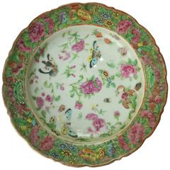 Chinese Famille Rose Porcelain Low Bowl, Floral with Butterflies, circa 1880
