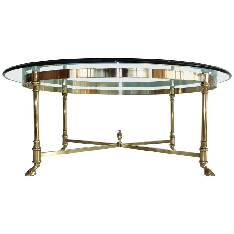 Round Brass and Glass Neoclassical Cocktail Table after Maison Jansen For Sale
