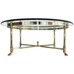 Round Brass and Glass Neoclassical Cocktail Table after Maison Jansen