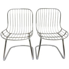 60'S Pair Of Italian Gastone Rinaldi Style Chrome Wire Cantilever Chairs