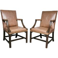 Pair of George III Mahogany Library Armchairs