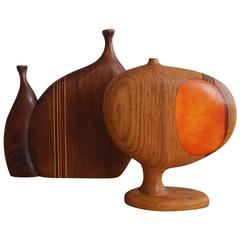 1960s Handcrafted Wood Vases