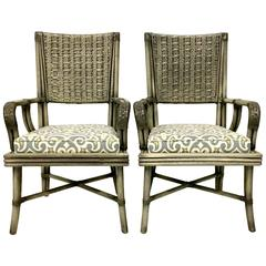 Pair of Rattan Upholstered Armchairs by David Francis