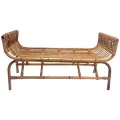 Vintage Ficks Reed Rattan Curved Long Bench
