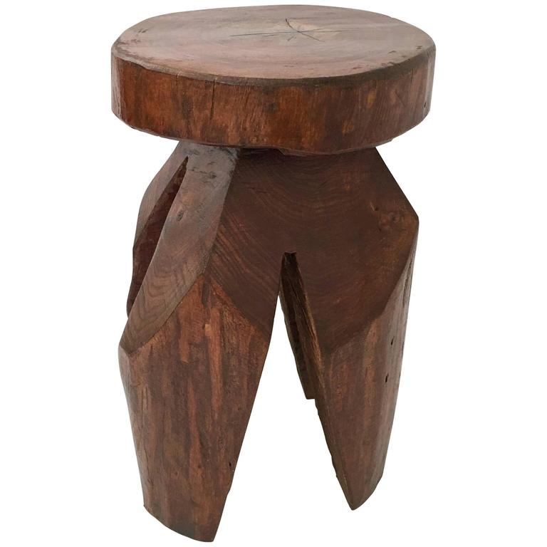 Tree Side Table ~ Organic modern tree hand carved trunk side table or