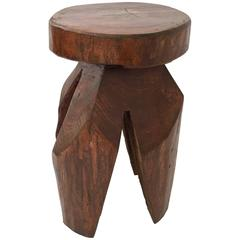 Organic Modern Tree Hand Carved Tree Trunk Side Table or Stool