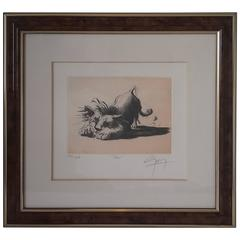 French Animal Etching The Lion Signed by Jean Marie Guiny, 1998, Limited Edition