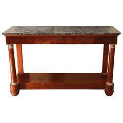 "French Empire Period Mahogany Console with ""Grey of Saint Anne"" Marble Top"