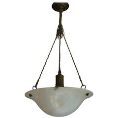 Antique Little White Alabaster Pendant Ceiling Lamp with Original Rope & Canopy