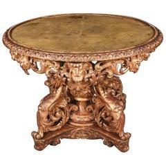 19th Napoleon III Salon Table Giltwood