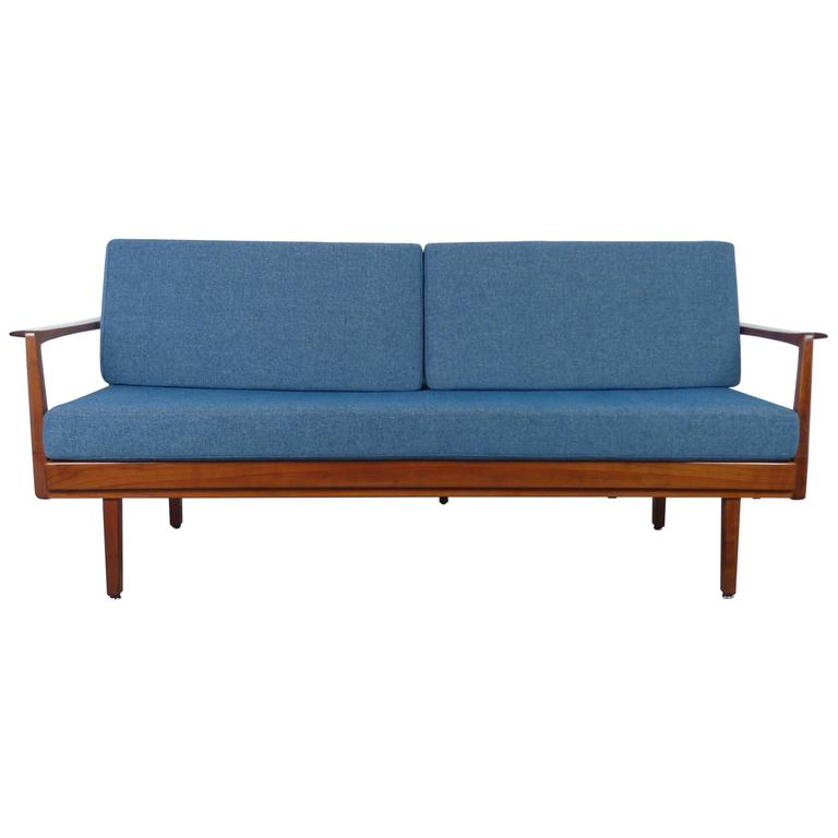 walter knoll sofa bed with walnut frame from the 1950s. Black Bedroom Furniture Sets. Home Design Ideas