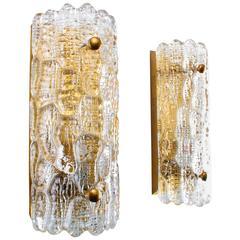 Crystal Glass Sconces by Lyfa/Orrefors, Pair of Scandinavian Modern Wall Lights