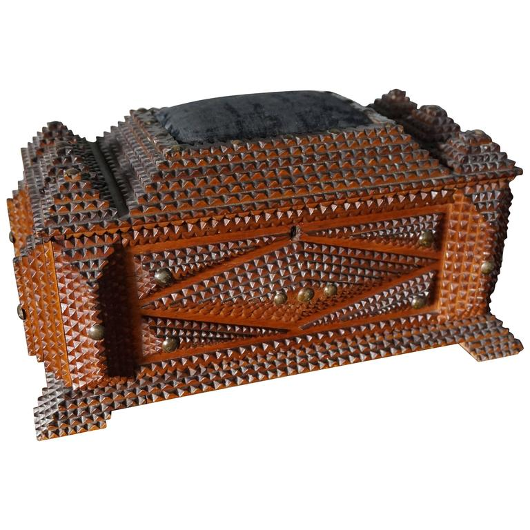 Antique Folk Art Handcrafted Gothic Revival Tramp Art Sewing Box with Picture For Sale