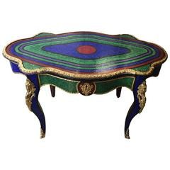 Glass Mosaic Side Table with Gilt Bronze