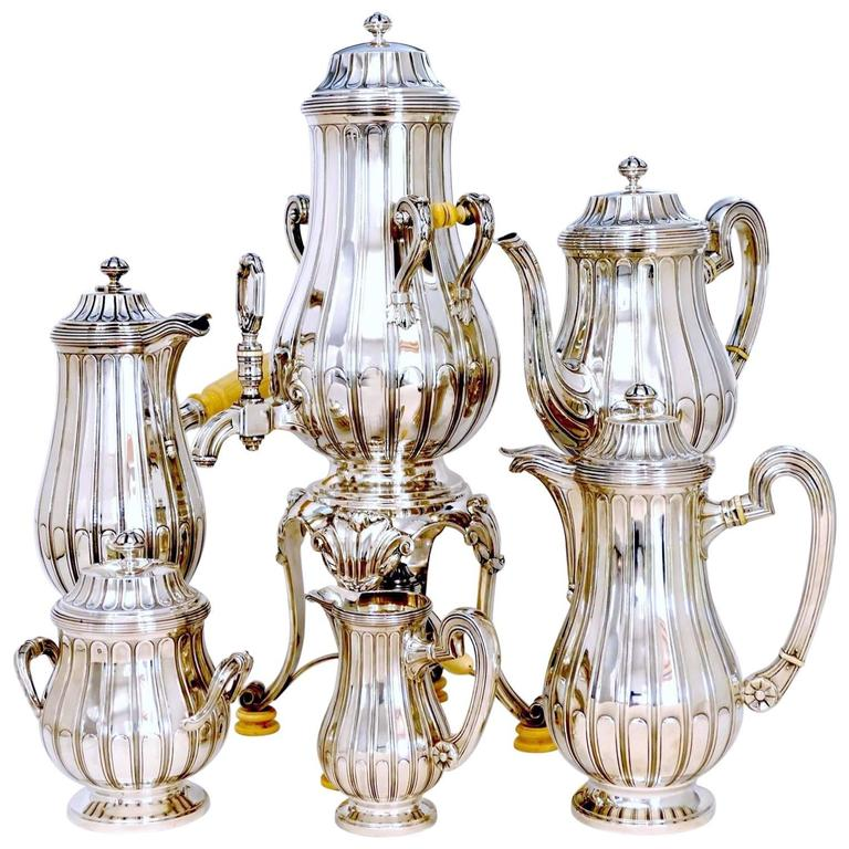 Tetard French Sterling Silver Samovar, Chocolate Pot, Teapot,Coffee & Sugar  Pot For Sale