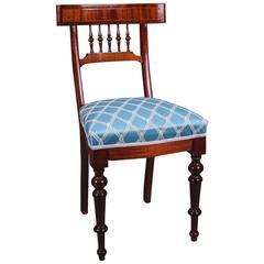 19th Century Biedermeier Mahogany Blue Fabric Chair