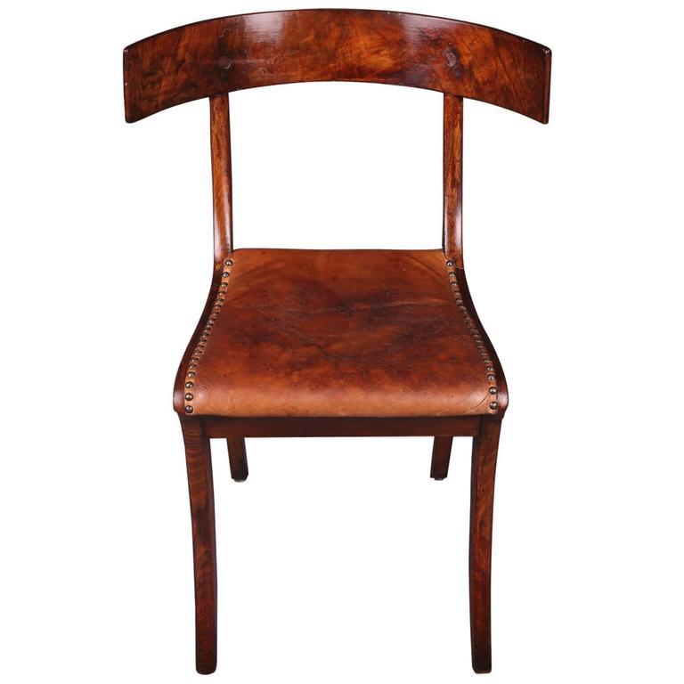 19th Century Empire Klismos Saber-Legs Chair
