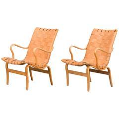 "Bruno Mathsson Leather ""Eva"" Lounge Chairs"