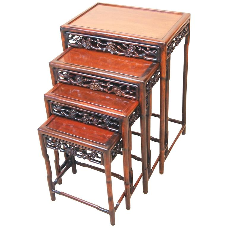 Antique 19th century oriental hardwood nest coffee tables for Antique chinese tables for sale