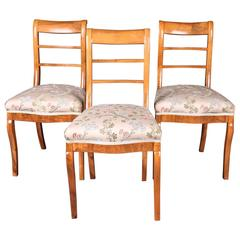 Early 19th Century Three Biedermeier Curved Legs Set of Chairs