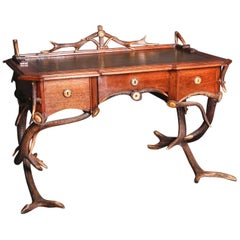 Mid-19th Century Historicism Style Antler Desk with Leather Plate