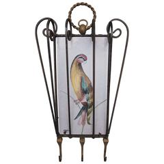 Wrought Iron Hooks Inset with Hand-Painted Belgian Tile with a Parrot