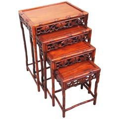 Antique 19th Century Oriental Hardwood Quartetto Nest of Coffee Tables