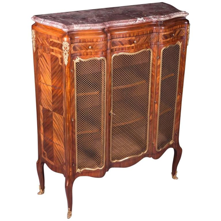 19th Century Napoleon III Rosewood Curved Legs Side Cabinet Commode