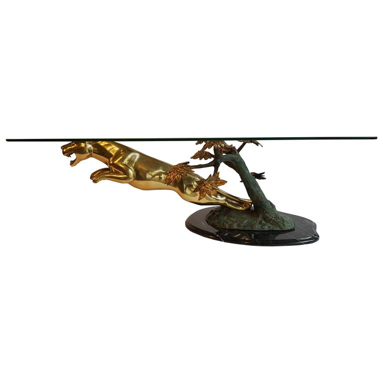 Jaguar Coffee Table Glass Bronze Marble France At 1stdibs