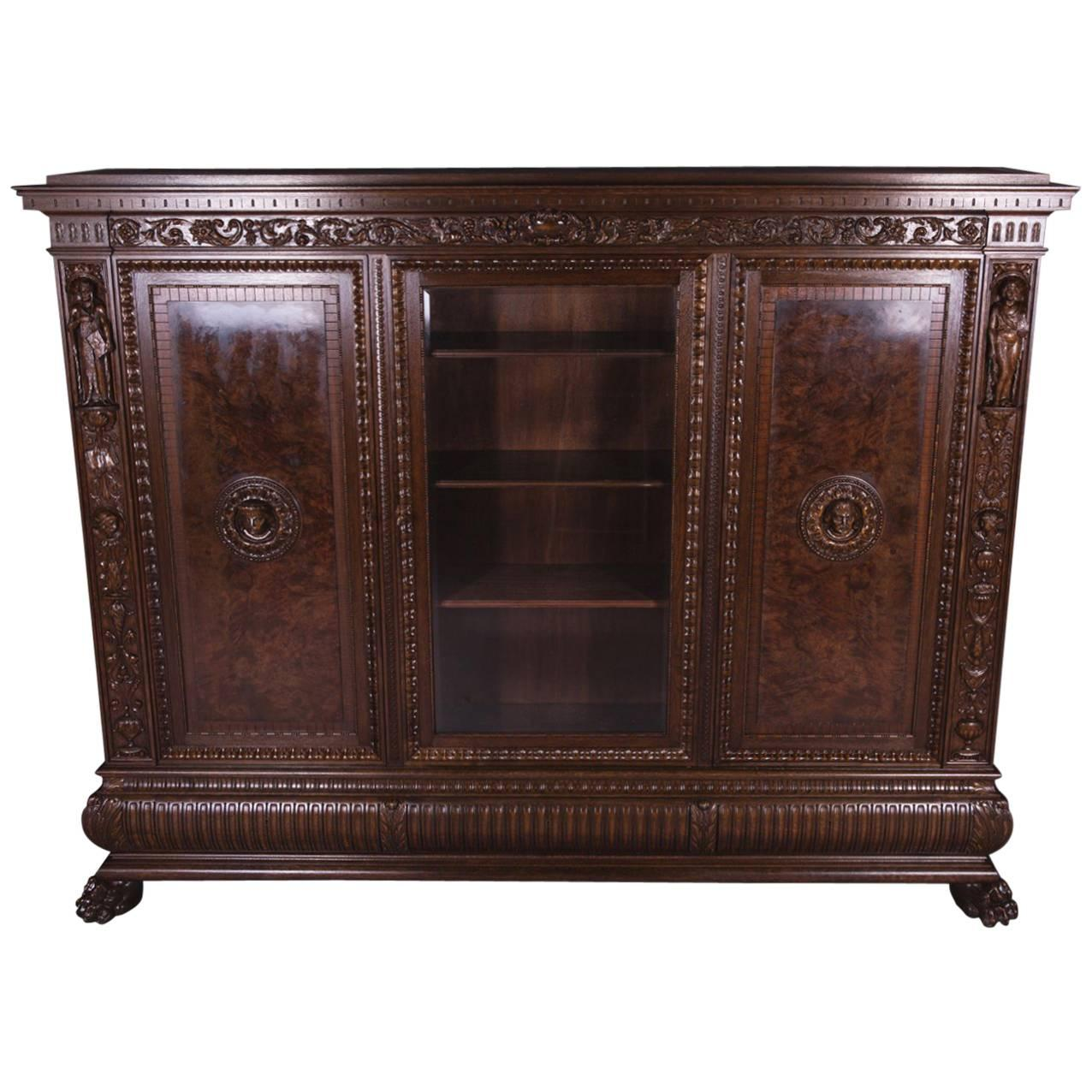 19th Century Historicism Men's Room Oak Bookcase Vitrine Cupboard