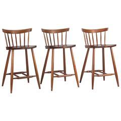 Three George Nakashima Counter or Barstools