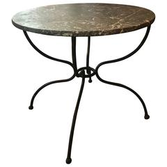 Early 20th Century Iron Bistro Table with Marble Top