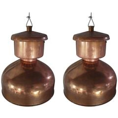 Pair of Large Copper Industrial Pendant Lights
