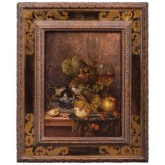 20th Century Renaissance Still Life Oil on Wooden Plate Andreas Gyula Bubarnik