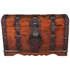 18th Century Barouque Iron-Fitting Oak Blanket Chest