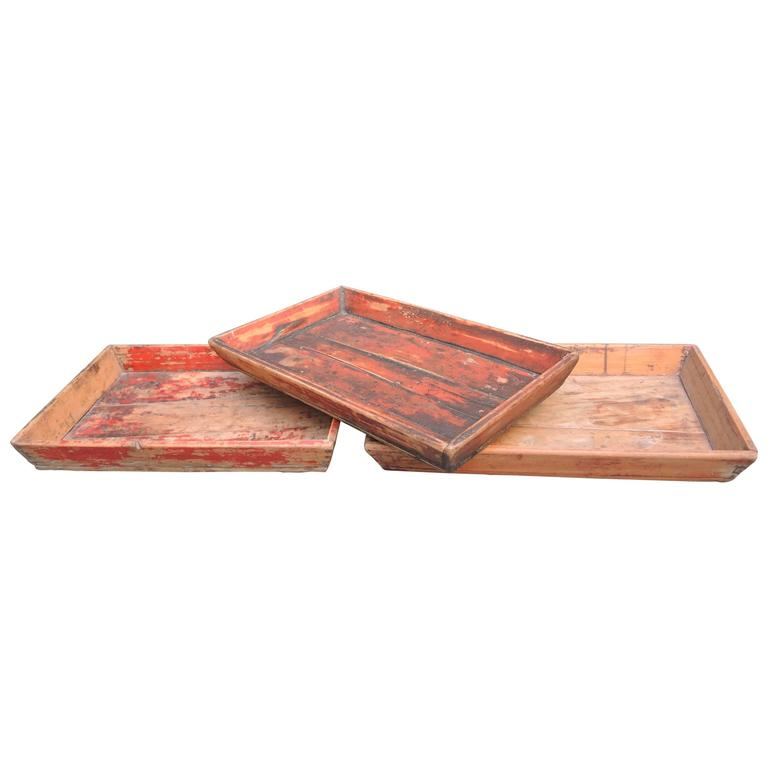 Collection of Three Antique Chinese Wood Trays Retaining the Original Paint