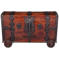 18th Century Baroque Oak Four-Wheels-Leg Blanket Chest