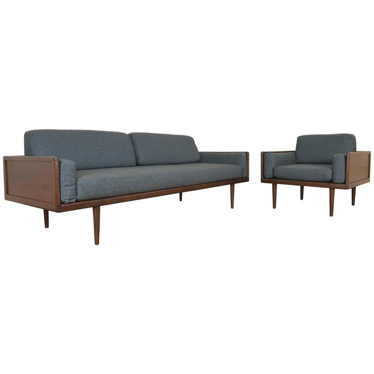Bon Mel Smilow For Smilow Thielle Walnut Case Minimalist Sofa And Lounge Chair  Group For Sale