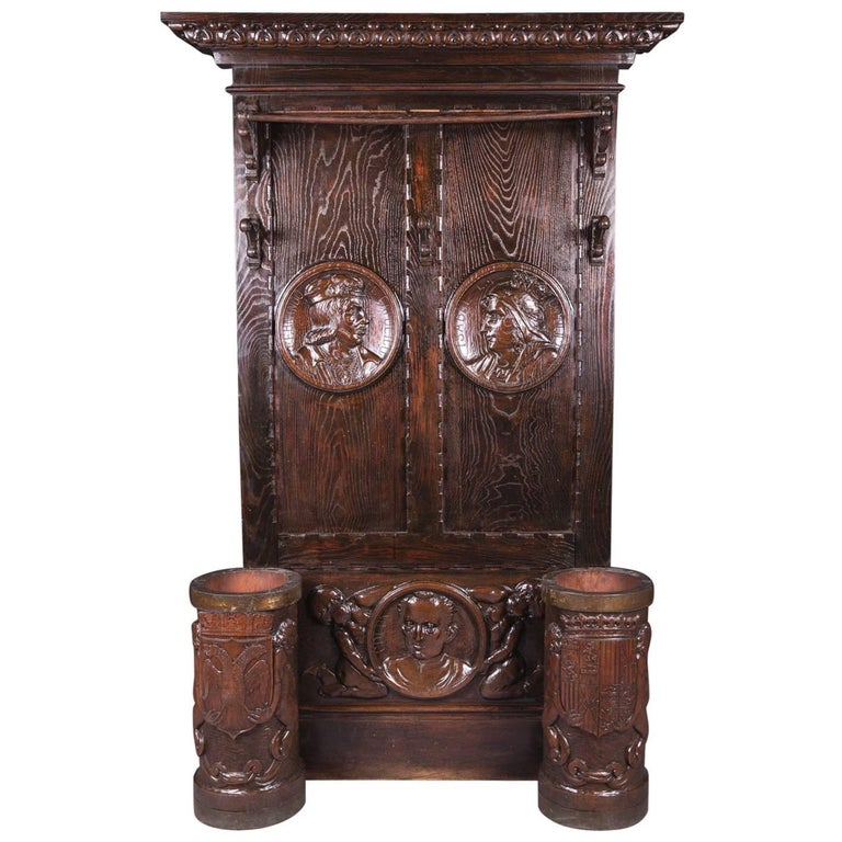 19th Century Historicism Oak Wardrobe For Sale