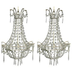 Pair of Classical Style Cut Glass Wall Lights